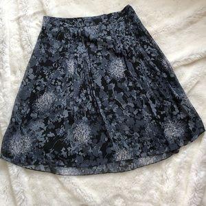 Ann Taylor Floral-Printed Pleated Skater Skirt